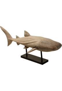 Escultura Decorativa De Resina Tubarão Branco