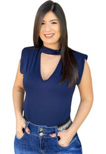 Blusa Muscle Tee Decote V Azul Marinho