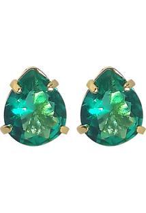 Brinco Kumbayá Gota Banho De Ouro 18K Cristal Verde Esmeralda
