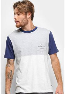 Camiseta Quiksilver Under Shelter Masculina - Masculino-Azul+Branco