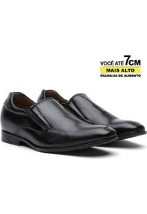 Sapato Social Couro Youth Class Elevation De Elástico Masculino - Masculino-Preto