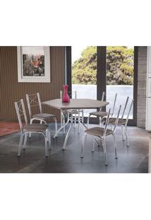 Conjunto Mesa Sextavada E 6 Cadeiras Vancouver Móveis Brastubo Ameixa Negra/Madeira Marrom