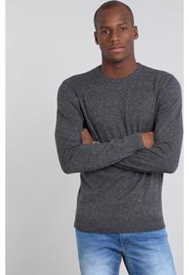 Suéter Masculino Comfort Fit Em Tricô Gola Redonda Cinza Escuro