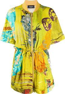 Dsquared2 Macaquinho Com Estampa Floral - Amarelo