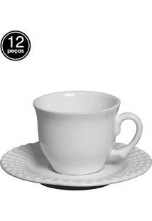 Conjunto 6 Xícaras De Chá Perles Branco Scalla