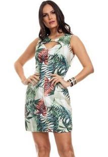 Vestido Clara Arruda Decote Fivela Estampado Feminino - Feminino-Verde Claro+Verde