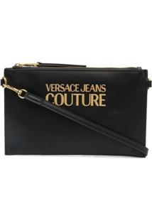 Versace Jeans Couture Logo-Plaque Clutch Bag - Preto