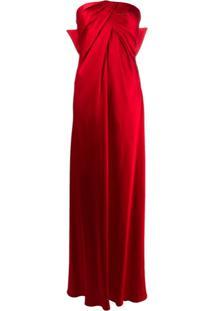 Alberta Ferretti Vestido De Festa Com Laço - Vermelho