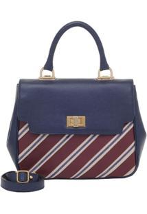 Bolsa Smart Bag Couro Listras - Feminino-Azul