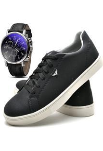 Sapatênis Sapato Casual Com Relógio Juilli Com Cadarço Masculino 171L Preto