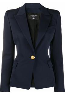 Balmain Blazer Com Abotoamento Frontal - Azul
