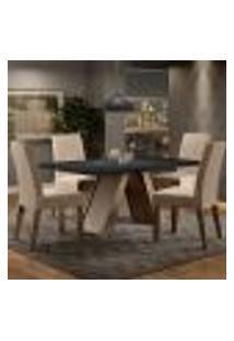 Conjunto Sala De Jantar Madesa Tatiana Mesa Tampo De Madeira Com 4 Cadeiras - Rustic/Preto/Imperial