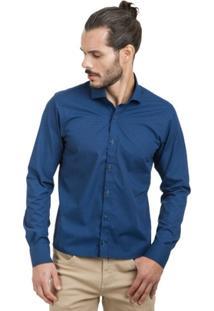 Camisa Di Sotti Microestampada Azul Marinho - Masculino