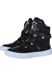 Tênis Sneaker Cheia De Marra Cobra Preto