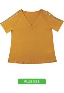 Blusa Manga Curta Com Lantejoulas Amarelo