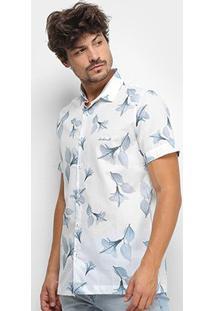 Camisa Acostamento Floral Masculina - Masculino-Branco