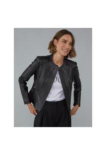 Amaro Feminino Jaqueta Leather Recortes, Preto