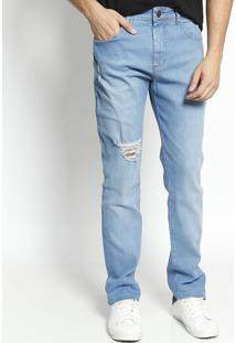 Jeans Alexandre Com Destroyed- Azul Claroforum