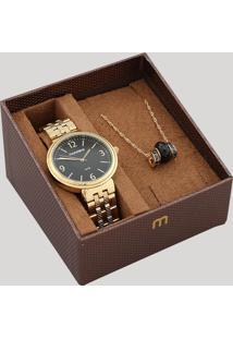 Kit De Relógio Analógico Mondaine Feminino + Colar - 99359Lpmvde1K Dourado - Único