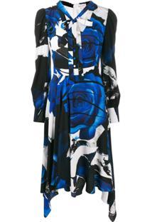 Alexander Mcqueen Vestido Drapeado Com Estampa Gráfica - Azul