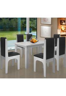 Conjunto Mesa Com 6 Cadeiras - Miami - Dobuê - Branco / Preto