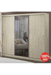 Guarda Roupa 3 Portas Com 1 Espelho 100% Mdf 1905E1 Marfim Areia - Foscarini