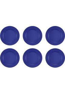 Jogo 6 Pratos Rasos Donna Azul 24Cm Biona