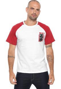 Camiseta Fiveblu Raglan Branca/ Vermelha