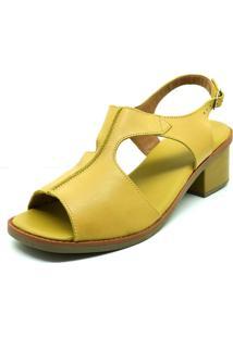 Sandalia Salto Baixo Confort Couro Dani K - Kanui