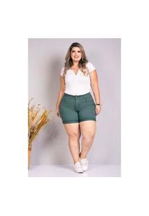 Bermuda Bogge Jeans Meia Coxa Em Sarja Plus Size Verde