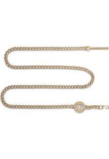 Cinto Cintura Quadril Colar Skinny Com Corrente Dourado - M