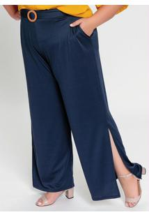 Calça Pantalona Azul Com Fendas Nas Laterais