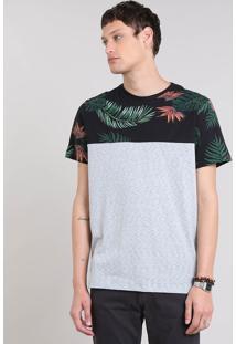 Camiseta Masculina Listrada Com Estampa Tropical Manga Curta Gola Careca Cinza Mescla Claro