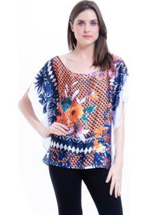 Blusa 101 Resort Wear Poncho Crepe Cetim Estampado Floral Laranja
