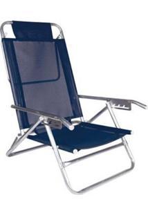 Cadeira Reclinável 5 Pos Alumínio Azul Mor