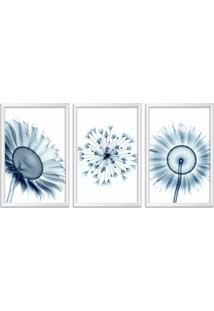Quadro Oppen House 60X120Cm Flores Abstrato Transparentes Moldura Branca Estilo Raio X Decorativo Interiores Mod:Oh0019