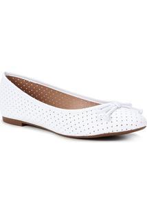 Sapatilha Shoestock Bico Redondo Perfurado Laço - Feminino-Branco