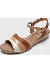 Sandália Comfortflex Tricolor Bege