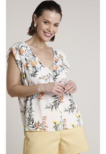 Blusa Feminina Ampla Estampada Floral Com Babado Na Manga Decote V Off White