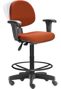 Cadeira Caixa Alta Ergonômica Nr17 Crepe Laranja Escuro
