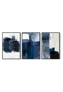 Quadro 40X90Cm Abstrato Margolanak Moldura Flutuante Filete Preta Decorativo