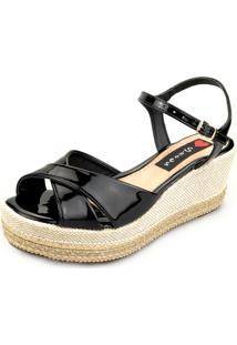 Anabela Love Shoes Salto Médio Corda Cruzada Verniz Preto