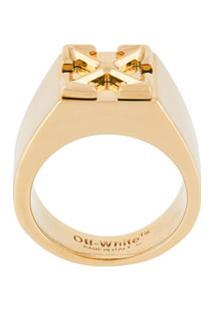 Off-White Anel Gravado - Dourado