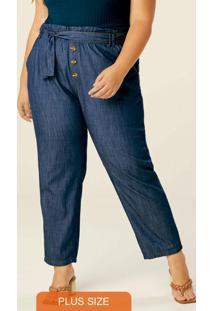 Calça Azul Escuro Jogger Jeans Feminino Plus