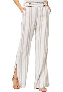 Calça Mx Fashion Pantalona Listrada Tairone Caqui
