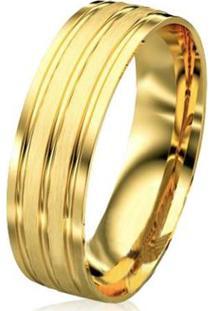 Aliança De Casamento Masculina Em Ouro 18K 750 Wm Joias 7Mm M2925 - Masculino-Dourado