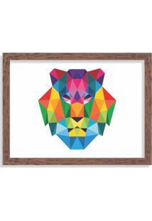 Quadro Decorativo Leão Abstrato Colorido Madeira - Médio