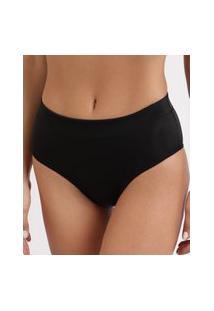 Calcinha Feminina Dilady Zero Barriga Plus Size Cintura Alta Preta