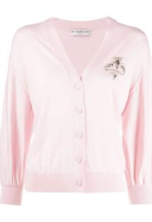 Givenchy Cardigan Com Logo Bordado - Rosa
