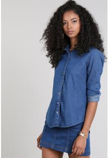 Camisa Jeans Feminina Básica Manga Longa Azul Escuro